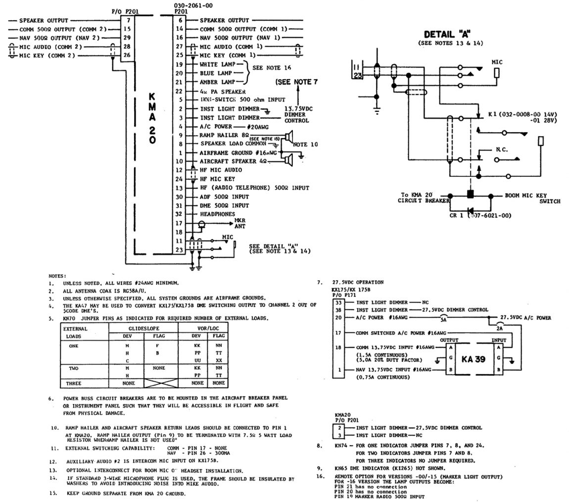 Kma 26 Audio Panel Wiring Wire Center Pin King 20 Interconnect Aero Pro Avionics Llc Rh Aeroproavionics Com Electronic Tube